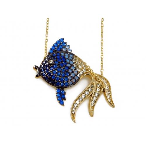 Złoty naszyjnik niebieska rybka