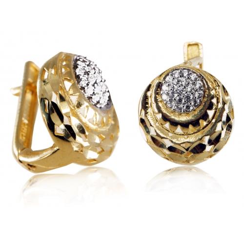 Złote kolczyki okrągłe z cyrkoniami