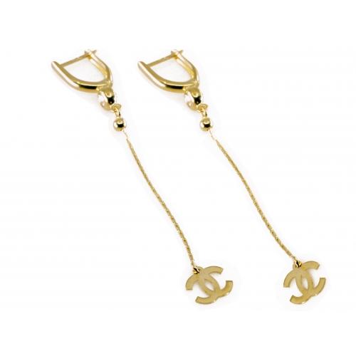 Złote kolczyki z logo Chanel