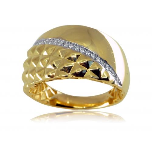 Złoty pierścionek diamentowany z cyrkoniami