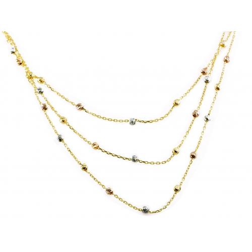 Złoty naszyjnik z kulkami z trójkolorowego złota