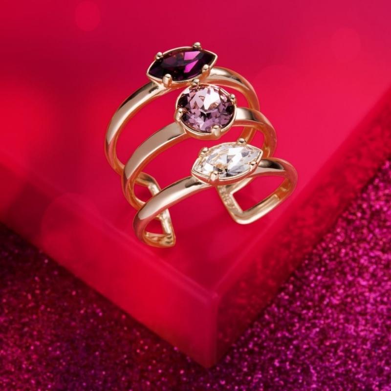 Pierścionek potrójny z kryształami Swarovskiego i tanzanitem