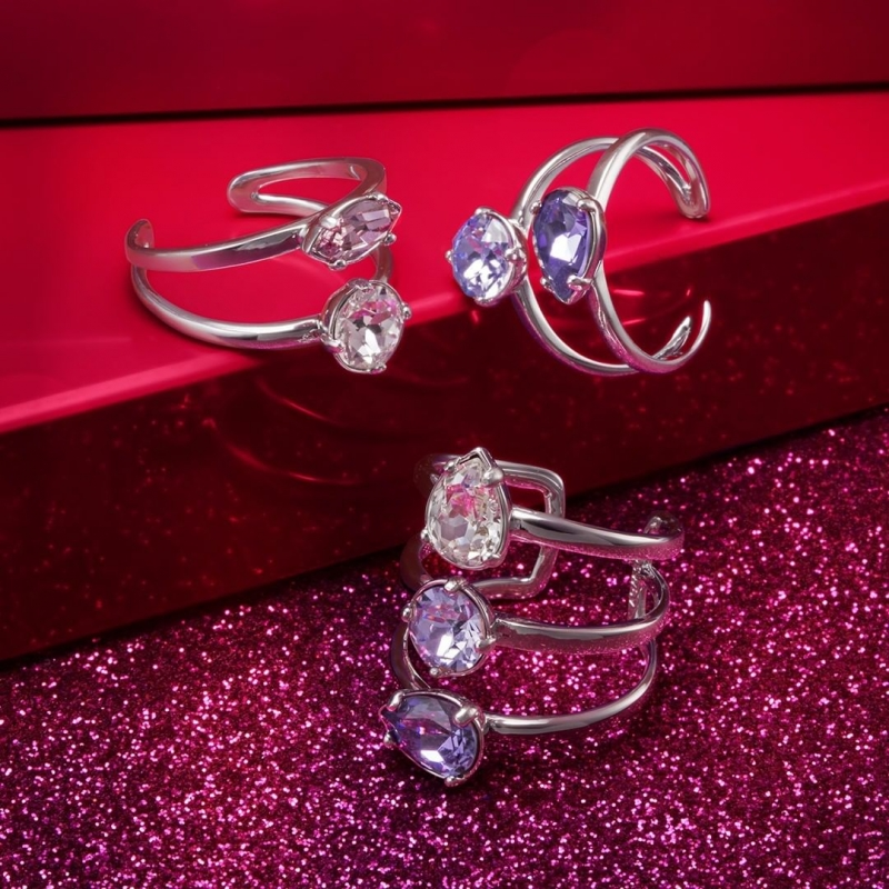 Pierścionek potrójny z kryształami Swarovskiego