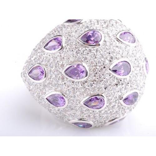 Pierścionek srebrny fioletowo lawendowe kryształy Swarovski