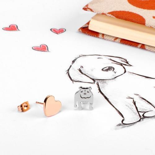 Kolczyki La Petite Story pies i serce