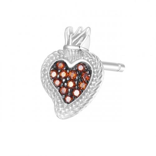 Kolczyk serce z koroną Rosato