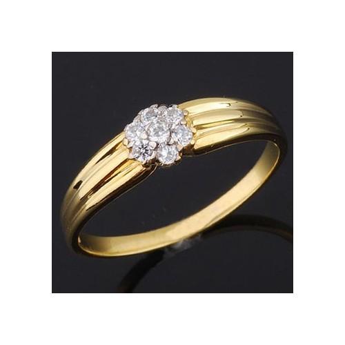 Pierścionek złoty z cyrkoniami - kwiatek