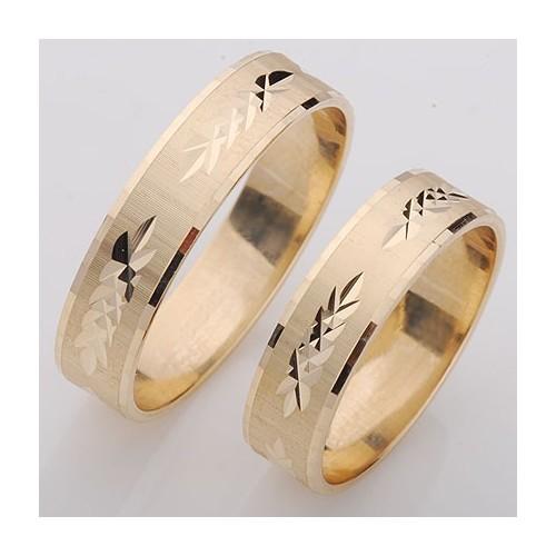 Obrączki złote płaskie diamentowane