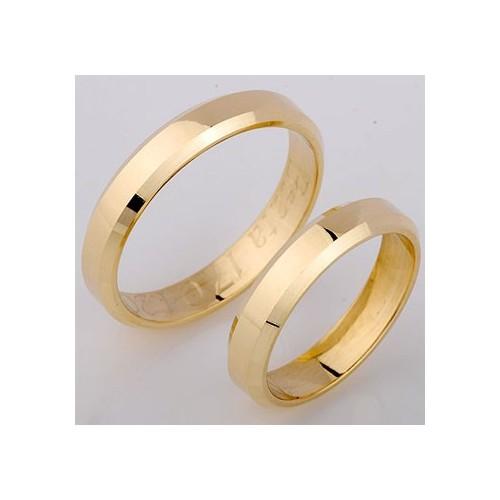 Obrączki złote płaskie ze ściętymi bokami