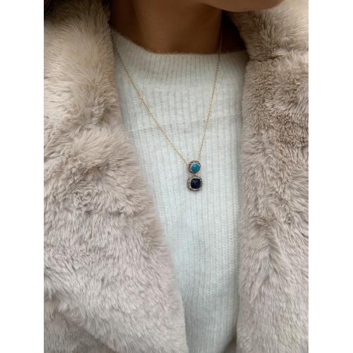 Naszyjnik niebieskie kamienie