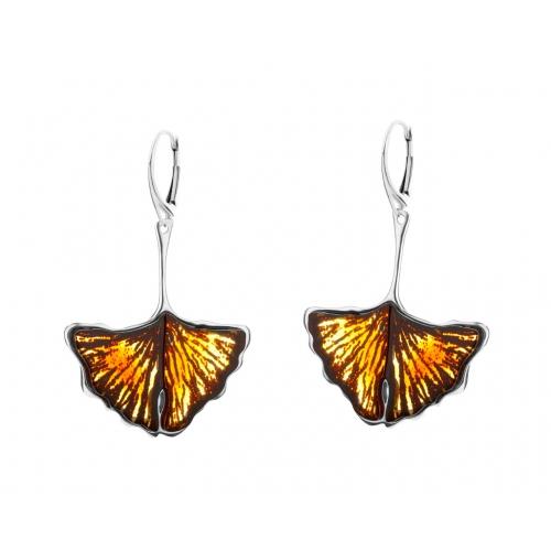Kolczyki srebrne motyle z bursztynem