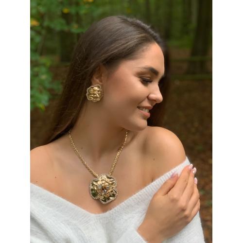Naszyjnik kwiat z kryształami Swarovski