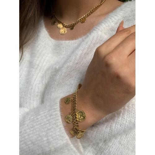 Bransoletka złocona monety
