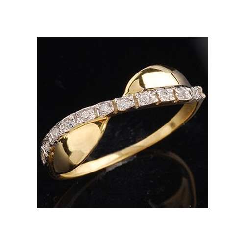 Pierścionek złoty z cyrkoniami