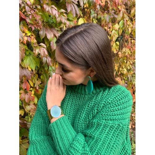 Kolczyki z zielonym agatem