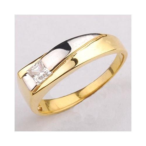 Pierścionek złoty z kwadratową cyrkonią