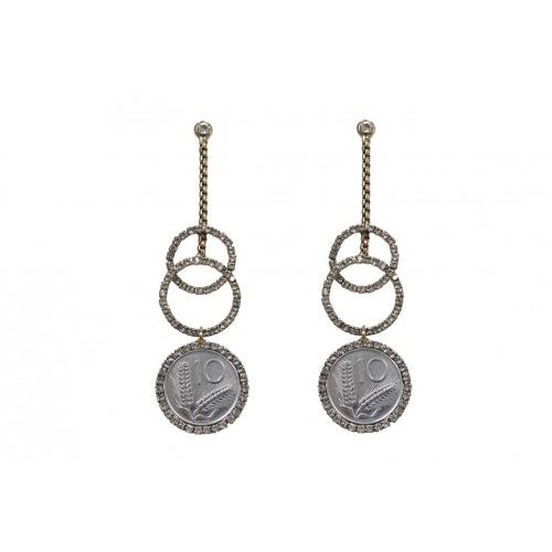 Kolczyki srebrne koła monety