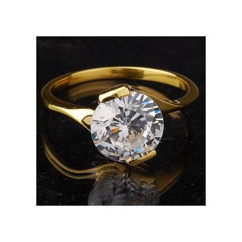 Pierścionek złoty z cyrkonią, idealny na zaręczyny