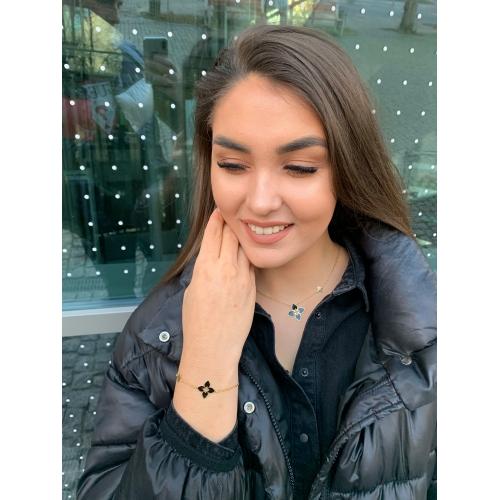 Srebrny komplet kolczyki bransoletka naszyjnik czarne kwiaty