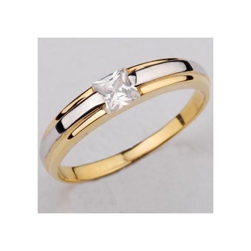 """Pierścionek złoty zaręczynowy z cyrkonią """"Princess Cut"""""""