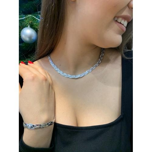 Efektowny srebrny komplet naszyjnik i bransoletka