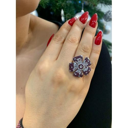 Pierścionek modowy srebrny fioletowy kwiat
