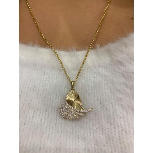 Wisiorek złoty skrzydło serce z cyrkoniami Swarovski