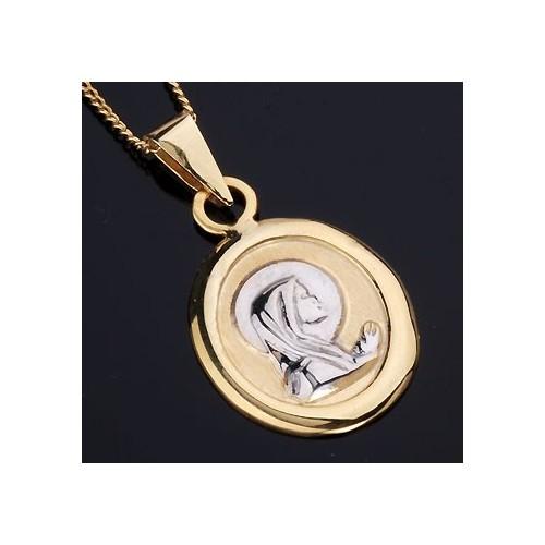 Wisiorek złoty - medalik z Matką Boską