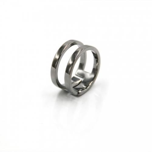 Podwójny srebrny pierścionek z rutenem Luca Lorenzini