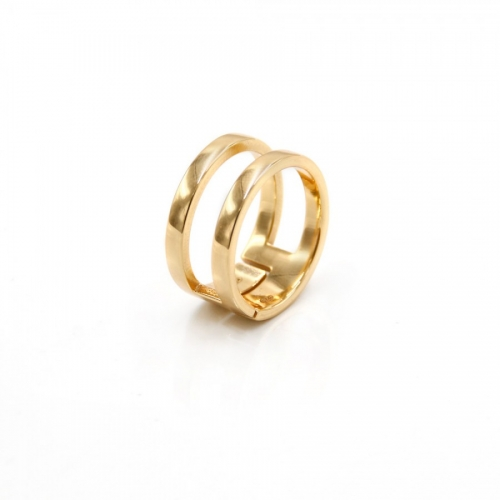 Podwójny srebrny pierścionek złocony Luca Lorenzini