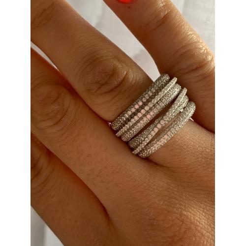 Pierścionek srebrna obrączka modowa cyrkonie
