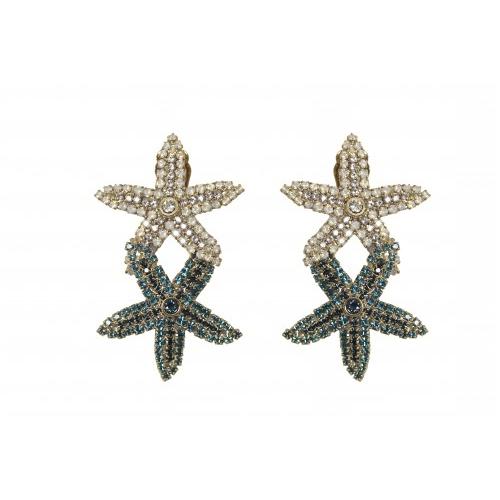 Kolczyki złocone rozgwiazda z kryształkami b