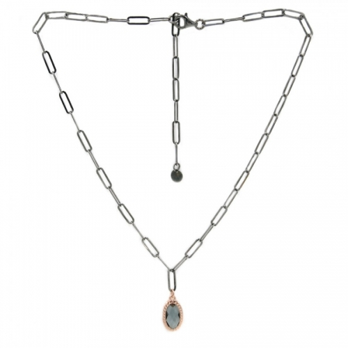 Naszyjnik srebrny rodowany Luca Lorenzini