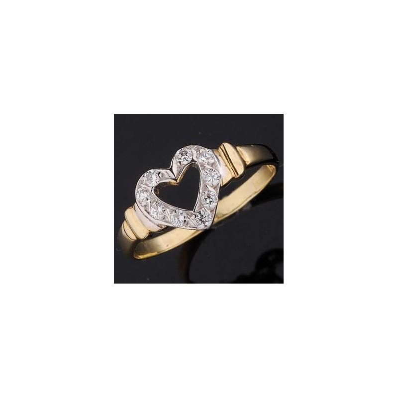 Pierścionek złoty 14ct SERCE wysadzany cyrkoniami Swarovski