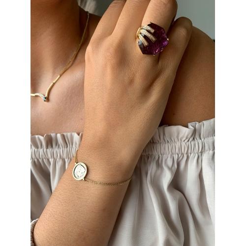 Złoty pierścionek z kamieniami Swarovskiego