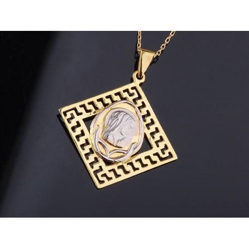 Złoty wisiorek Medalik z Maryją w greckim wzorze