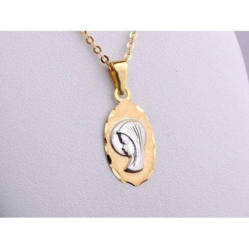 Medalik złoty - owalny wisiorek z Matką Boską