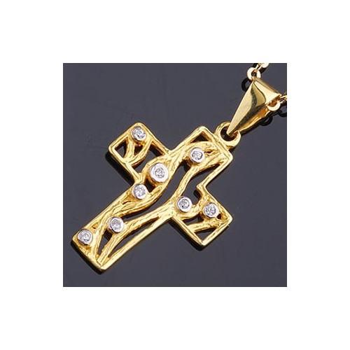 Złoty krzyżyk z cyrkoniami Swarovski