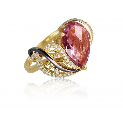 Złoty pierścionek różowy chalcedon Swarovski