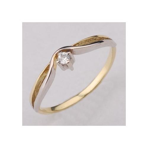 Pierścionek złoty z cyrkonią Swarovski - zaręczynowy