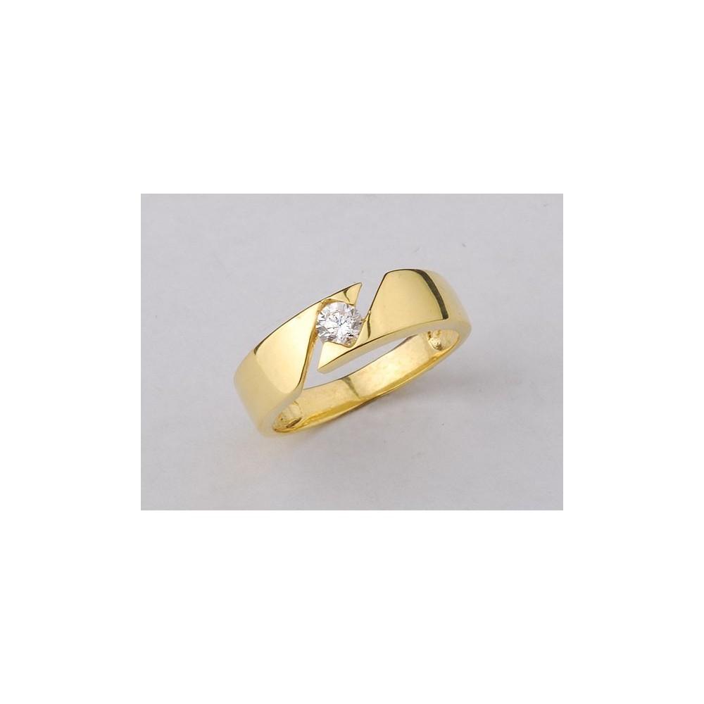 4236979f3f89fd Pierścionek złoty jak obrączka z cyrkonią Swarovski - Chaton Jubiler