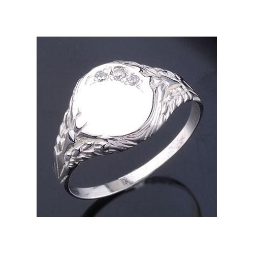 Sygnet srebrny, owalny z cyrkoniami i ornamentami