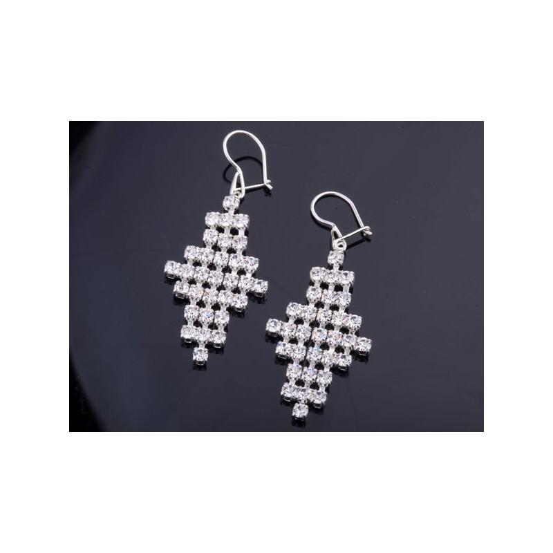 Kolczyki srebrne wiszące z jetami Swarovski
