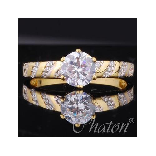 Pierścionek złoty z cyrkoniami na zaręczyny
