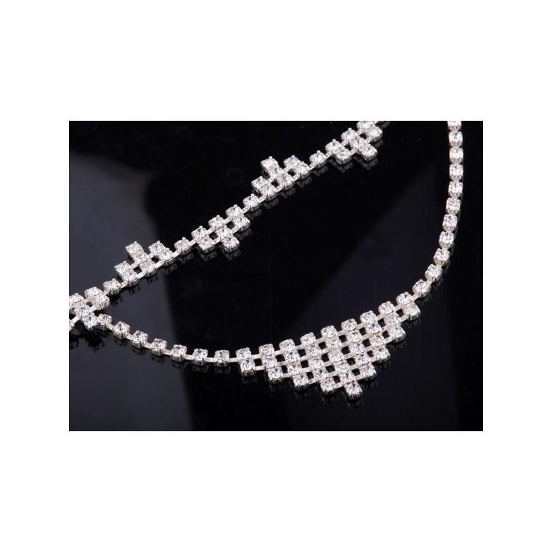 Komplet srebrny Naszyjnik i Bransoletka - całe wysadzane Swarovski