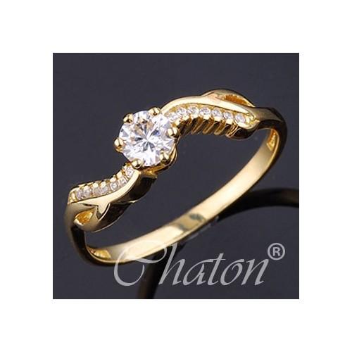 Pierścionek złoty zaręczynowy z cyrkoniami sawrovski