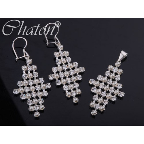 Komplet srebrny z perłami i jetami Swarovski