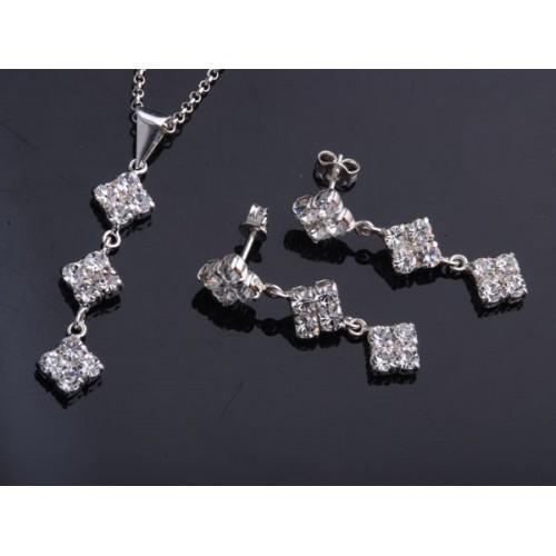 Komplet srebrny Kolczyki i Wisiorek z jetami Swarovski