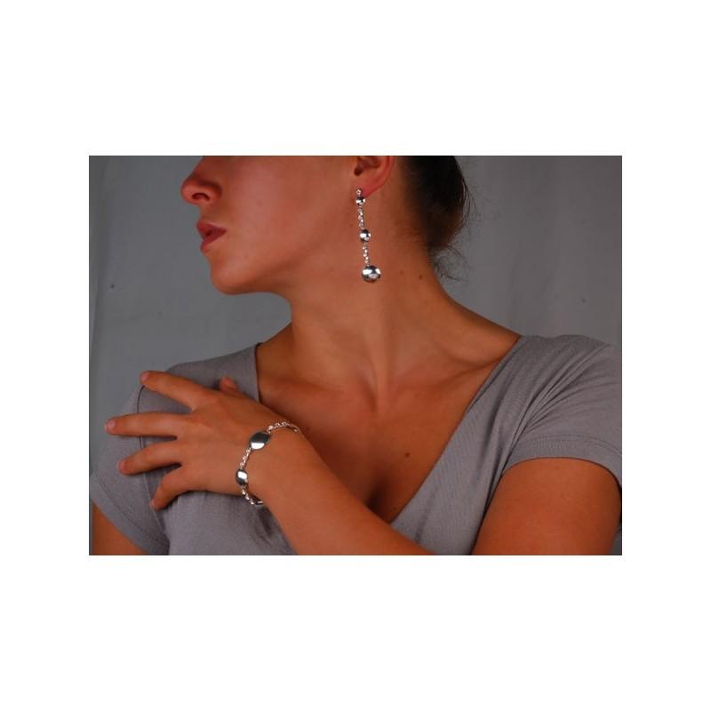 """Kolczyki srebrne """"Argento Luna"""" - wiszące srebrne kolczyki"""
