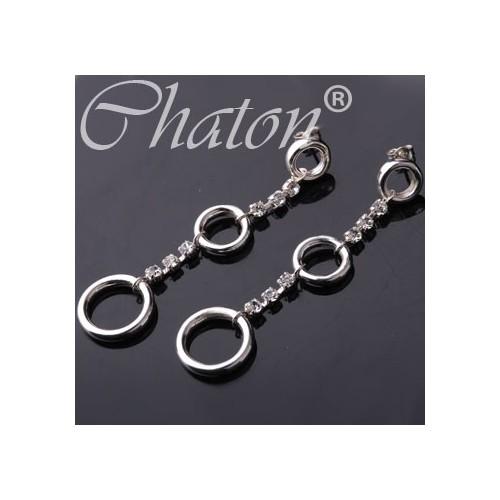 """Kolczyki srebrne """"Circle Collection"""" Długie, srebrne kolczyki z jetami Swarovski"""